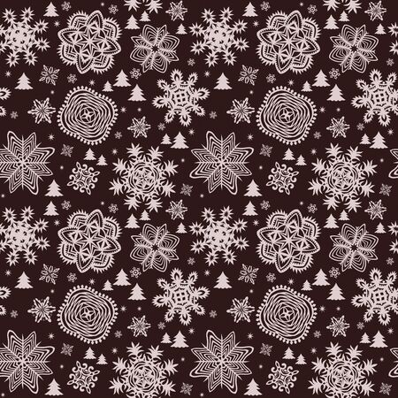 paper cut out: Winter vintage paper wallpaper with snowflakes and firs