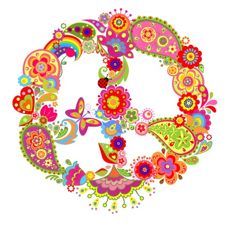 vintage flower: Colorful peace flower symbol with paisley