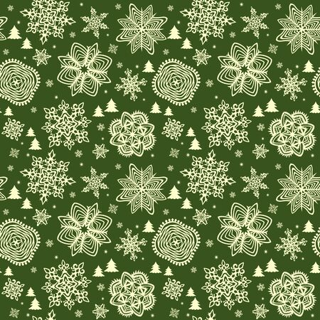 winter wallpaper: Green winter wallpaper with golden snowflakes Illustration