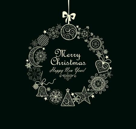 estaciones del año: Tarjeta de felicitación con guirnalda de Navidad