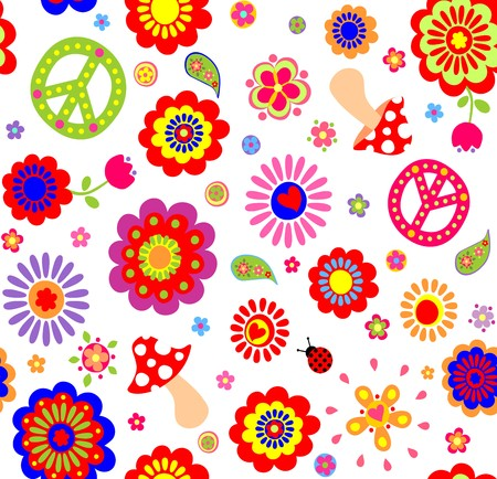 flowerpower: Hippie childish colorful wallpaper with mushrooms