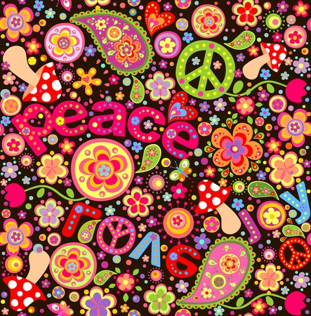 70s: Hippie wallpaper with mushrooms