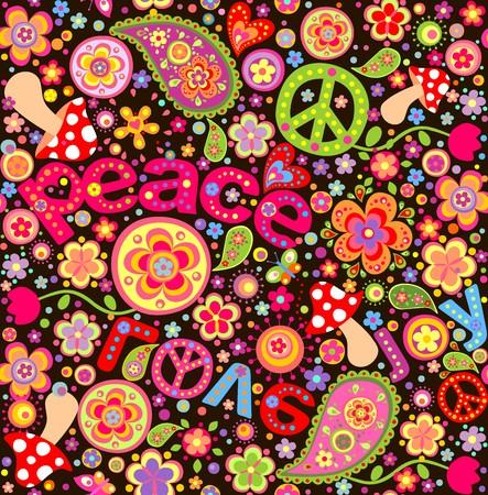 sixties: Hippie wallpaper with mushrooms
