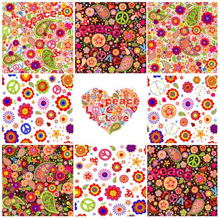 symbol of peace: Collection of hippie wallpapers Illustration
