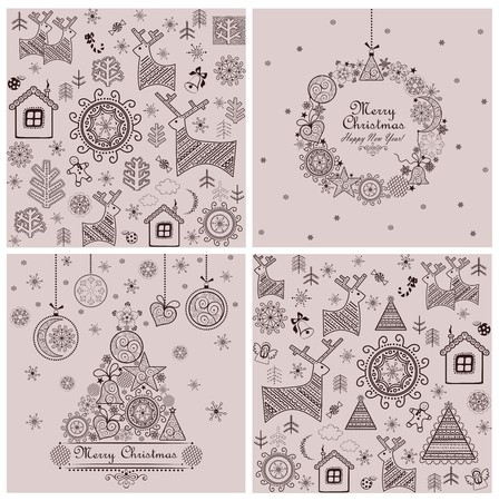 christmas backgrounds: Collection of sweet decorative christmas backgrounds Illustration