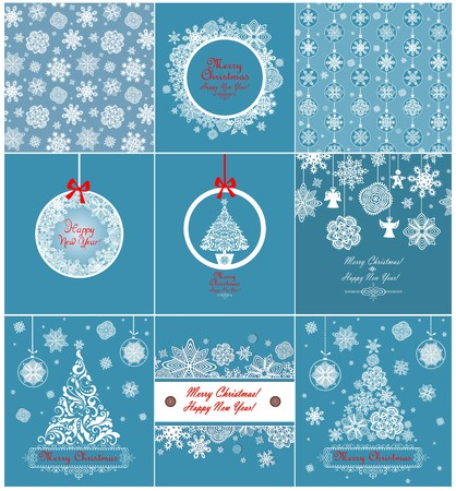 xmas tree: Collection of blue xmas greetings with paper snowflakes