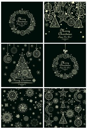 christmas backgrounds: Collection of decorative christmas cards and backgrounds Illustration
