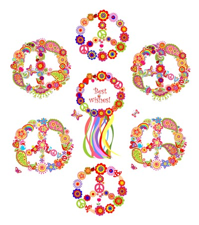 sixties: Collection of peace flowers symbols