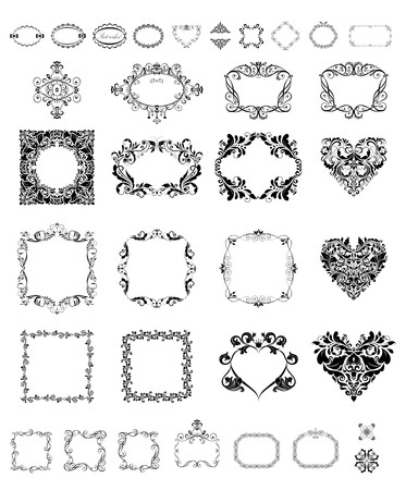 ornaments vector: Collection of vintage frames and vignette Illustration