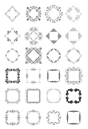 wedding heart: Set of decorative vintage frames