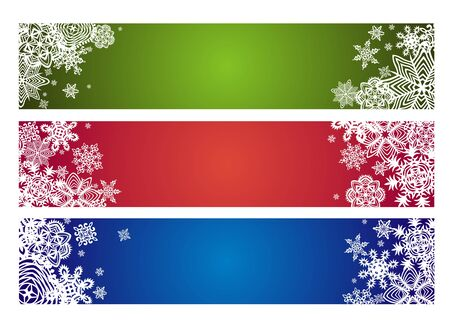 green banner: Winter horizontal banner with paper snowflakes