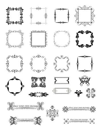 Set of vintage frames and headers Illustration