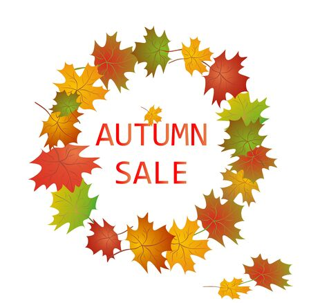 autumnal: Label for autumnal sale with maple leaves Illustration