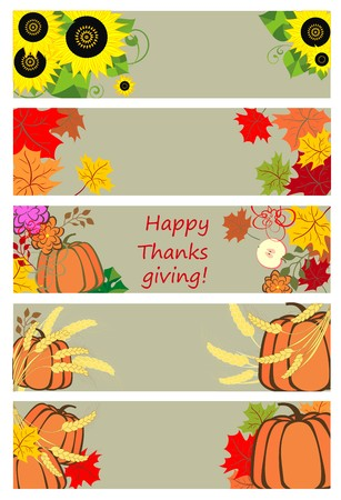 cucurbit: Autumnal banners for thanksgiving day Illustration