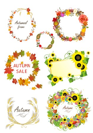yellow vector: Autumnal frames and design elements Illustration