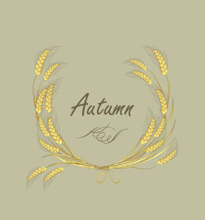 autumnal: Autumnal label with wreath