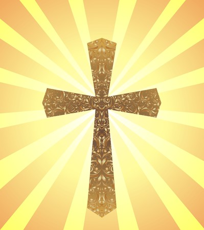 cross: Card with vintage Christian Cross and sun rays