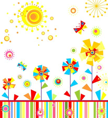 childish: Childish applique with abstract colorful flowers