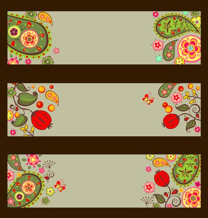ashberry: Collection of decorative autumnal banners with paisley