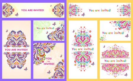 vector set: Collection of invitations