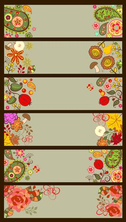 summery: Horizontal decorative autumnal and summery banners Illustration