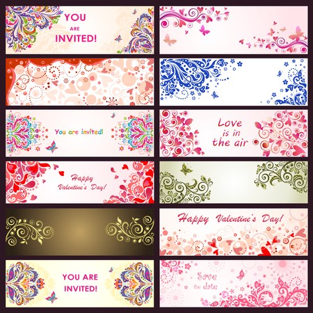 text frame: Horizontal greeting decorative banners