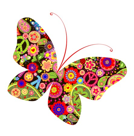 Print with butterfly with hippie symbolic Illustration