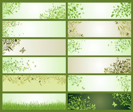appletree: Spring green decorative floral banners