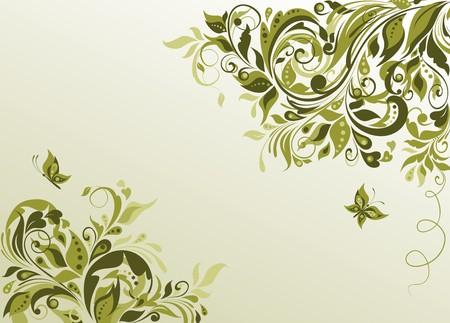 floral swirls: Vintage olive visiting with floral pattern Illustration