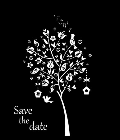 black tree: Wedding card with beautiful tree black and white Illustration