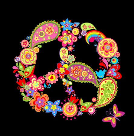 flowerpower: Print with peace flower symbol with paisley Illustration