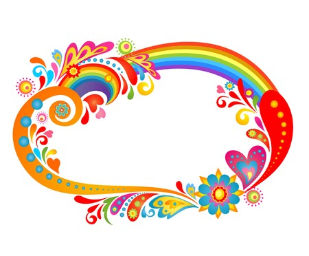 flowerpower: Abstract colorful frame with rainbow Illustration