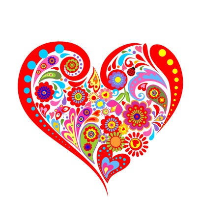 Colorful floral print with heart shape Illustration