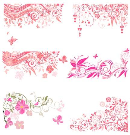 tree leaves: Decorative pink borders