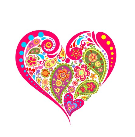 summery: Heart floral shape with paisley Illustration