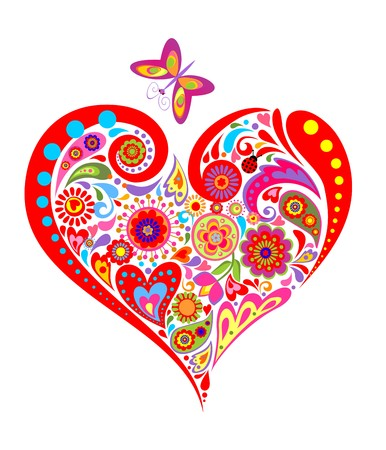 colorful heart: Print with summery floral colorful heart