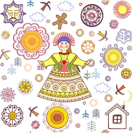 russian: Shrovetide wallpaper with abstract pattern and girl