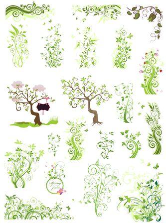 crecimiento planta: Spring green floral design elements