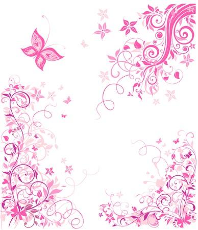 ヴィンテージのピンクの花柄のデザイン