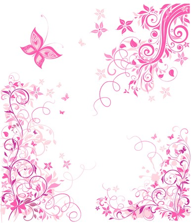 Vintage pink floral design Stock Illustratie