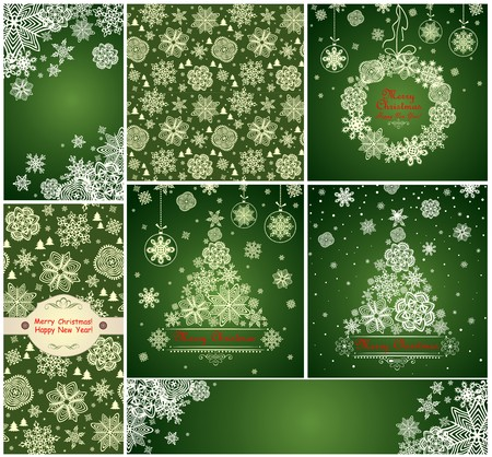 green paper: Collection of green xmas cards with paper snowflakes