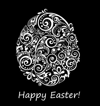 easteregg: Easter decorative floral egg black and white