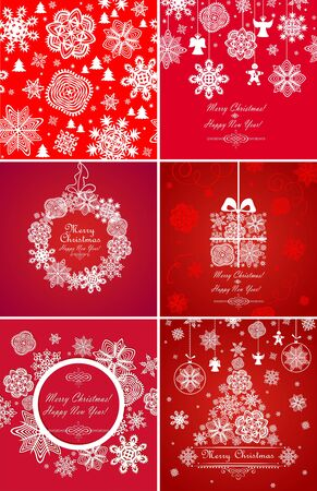 christmas baubles: Greeting red cards for xmas holidays with paper snowflakes