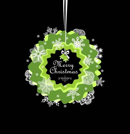 seasonal: Seasonal greeting with paper xmas wreath Illustration