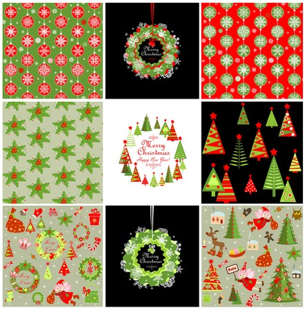 christmas wishes: Set of xmas red and green backgrounds with snowflakes
