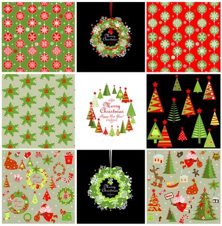 Set van Kerstmis rode en groene achtergronden met sneeuwvlokken