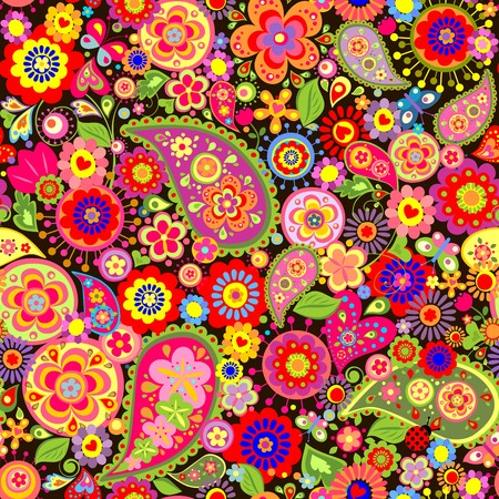flowerpower: Spring colorful floral wallpaper with mankolam Illustration