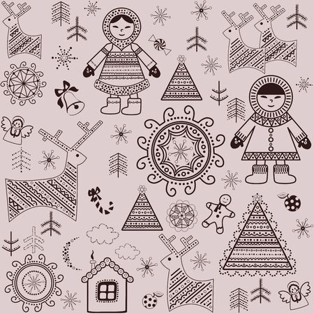 inuit: Winter sweet wallpaper with retro pattern and inuit