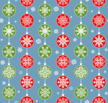 winter wallpaper: Winter wallpaper with hanging red and green snowflakes Illustration
