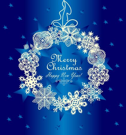 winter snow: Xmas hanging wreath with paper snowflakes Illustration
